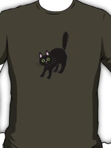 Tousled black cat. Halloween. T-Shirt