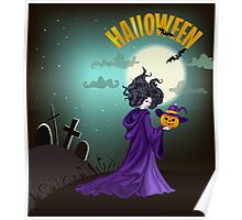 Beautiful witch with pumpkin in Halloween day. Poster