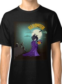 Beautiful witch with pumpkin in Halloween day. Classic T-Shirt