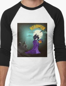 Beautiful witch with pumpkin in Halloween day. Men's Baseball ¾ T-Shirt