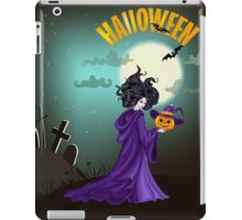Beautiful witch with pumpkin in Halloween day. iPad Case/Skin