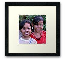 Girls in Ubud, Bali Framed Print