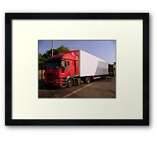 Red IVECO Truck  Framed Print