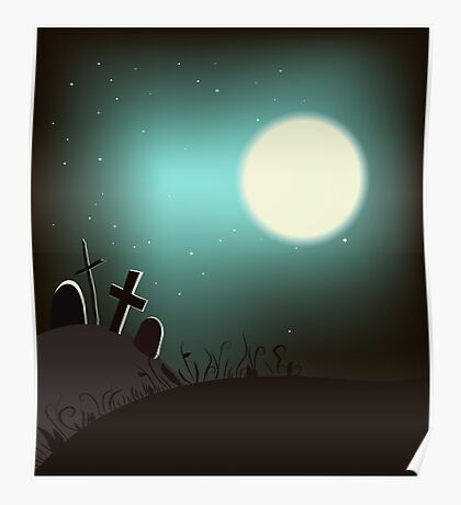 Halloween background with bright full moon. Poster