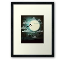 Halloween background cemetery with bright full moon. Framed Print