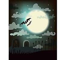 Halloween background cemetery with bright full moon. Photographic Print