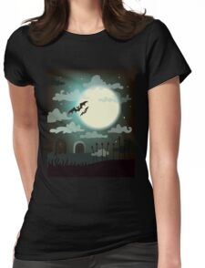 Halloween background cemetery with bright full moon. Womens Fitted T-Shirt
