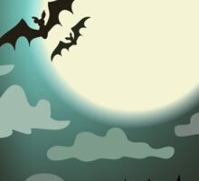 Halloween background cemetery with bright full moon. Sticker