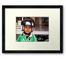Crash Helmet, Ubud, Bali Framed Print