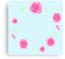 Pixel Pastel Flower Circle Canvas Print