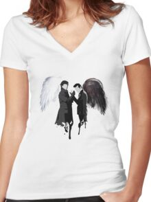 On the Side of the Angels Women's Fitted V-Neck T-Shirt