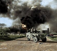 Armed troops near an explosion at an oil factory near Texas City, Texas. April 17, 1947. by ryanurban