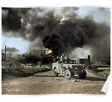 Armed troops near an explosion at an oil factory near Texas City, Texas. April 17, 1947. Poster