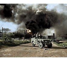 Armed troops near an explosion at an oil factory near Texas City, Texas. April 17, 1947. Photographic Print