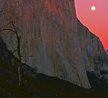 MOON,EL CAPITAN AT SUNSET by Chuck Wickham