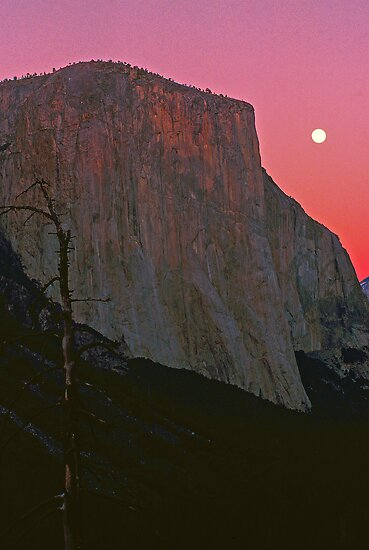MOON,EL CAPITAN AT SUNSET by Chuck Wickham