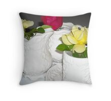 Roses in Teacup Throw Pillow