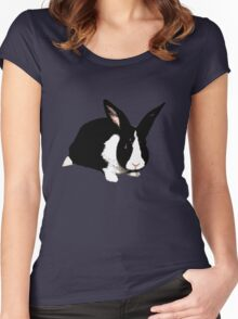 BUNNY BLACK WHITE RABBIT Women's Fitted Scoop T-Shirt