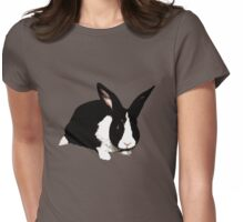 BUNNY BLACK WHITE RABBIT Womens Fitted T-Shirt