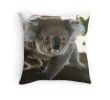 Close up look of wanna jump koala Throw Pillow