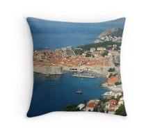 Dubrovnik - Old Port-City of Croatia Throw Pillow