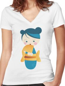 kimono ♥ doll Women's Fitted V-Neck T-Shirt