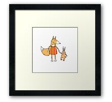 Fox and hare. Framed Print
