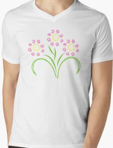 Pink and Yellow Flowers Mens V-Neck T-Shirt