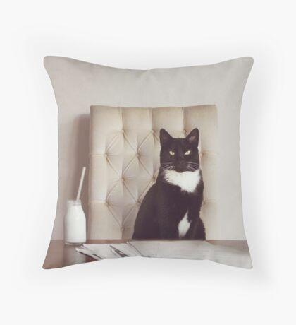 Corporate Cat Throw Pillow