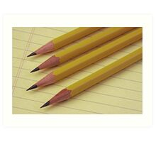 Four Pencils on Yellow Legal Pad Art Print