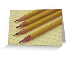 Four Pencils on Yellow Legal Pad Greeting Card