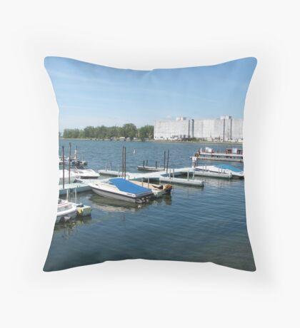 Buffalo Small Boat Harbor Throw Pillow