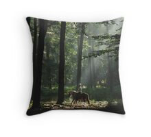 Riding out in the enchanted forest Throw Pillow