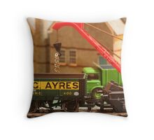 Stock yard - loading the wagons Throw Pillow