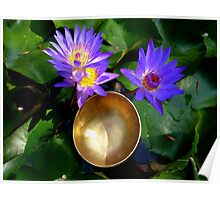 Lilies and Singing Bowl Poster