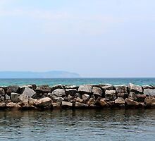 Seawall and Lake Michigan by Peggy Berger