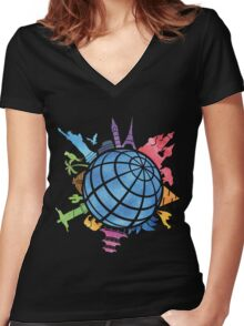Landmarks around the World Women's Fitted V-Neck T-Shirt