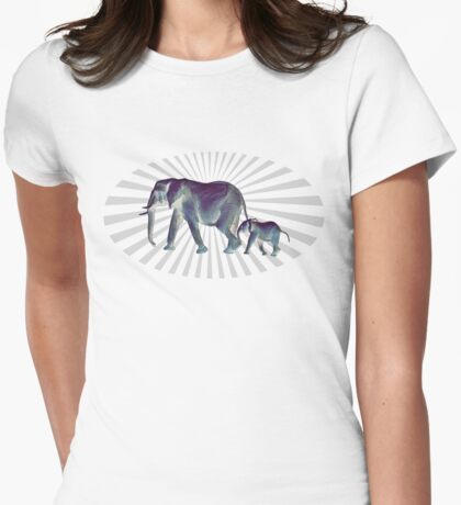 Mother Elephant's Love Womens Fitted T-Shirt
