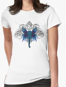 Peacock Elephant Womens Fitted T-Shirt