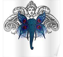 Peacock Elephant Poster