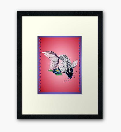White Koi-Blue Lily Poster Framed Print