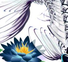 White Koi-Blue Lily Poster Sticker