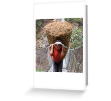 A Sherpa Hauling Pine Needles Greeting Card