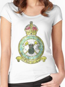 75(NZ) Squadron RAF Full Colour crest VINTAGE Women's Fitted Scoop T-Shirt