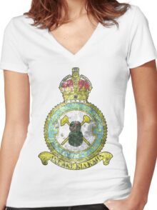 75(NZ) Squadron RAF Full Colour crest VINTAGE Women's Fitted V-Neck T-Shirt