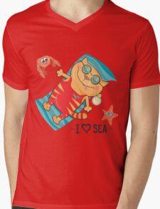 cat on the beach Mens V-Neck T-Shirt