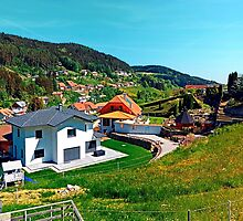 Springtime village skyline panorama by Patrick Jobst