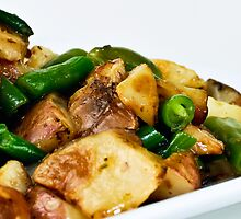 Roasted Red Potatoes w/ green beans in rosemary saki butter by oko-jumu