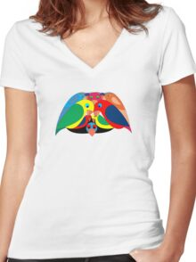 Colourful parrots Women's Fitted V-Neck T-Shirt