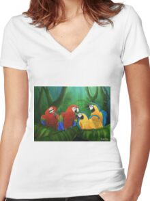 """""""Utopia"""" Parrotopia series 3 Women's Fitted V-Neck T-Shirt"""